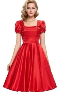 Red pin up style dress
